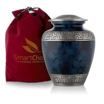SmartChoice Royal Cremation Urn for Human Ashes - Affordable Funeral Blue