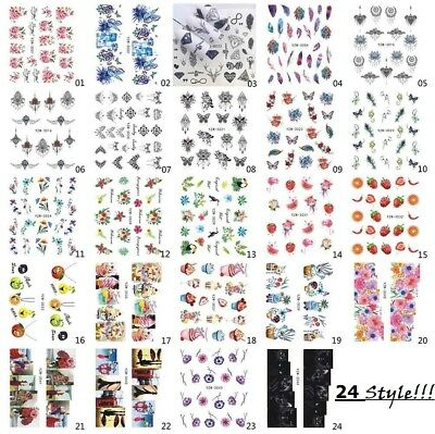 Nail Art Stickers Water Decals Transfers Butterfly Flower Fruits Feather 24Style