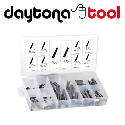 120pc SAE ROLL PIN SPLIT TENSION SPRING SLOTTED DOWEL VARIETY ASSORTMENT KIT