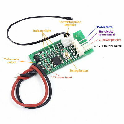 PWM 4-Wire Fan Temperature Controller Speed Governor DC 12V for PC Fan/Alarm