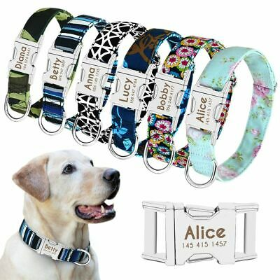 Personalized Dog Collar Engraved Name Custom Puppy Dogs Cat Nameplate ID Collars