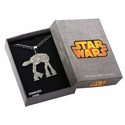 "Star Wars AT-AT Walker Pendant with 22"" Chain Necklace - Boxed Stainless Steel"
