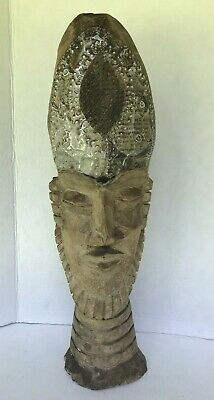 """Vintage Hand Carved Sculpture Heavy rustic hand crafted African Statue 21"""" tall"""