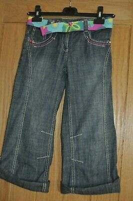 NEXT Girls Summer Denim 3/4 Length Trousers, Age 9 Years - New with Tags