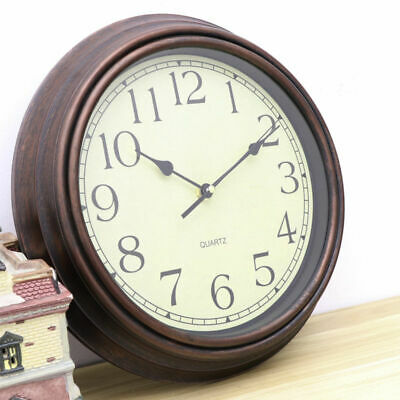 30CM Large Vintage Silent Analogue Round Wall Clock Home Bedroom Kitchen Quartz