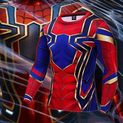 Superhero Iron Spiderman Costume Cosplay Compression Tights Quick-Drying T-shirt
