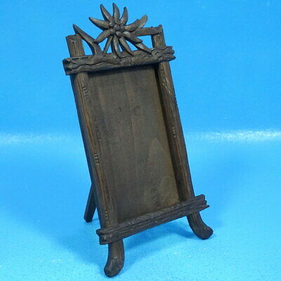5.5x3.5 Antique Swiss Black Forest Carved TABLE PHOTO FRAME Edelweiss Brienz