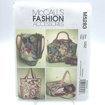 McCalls 5283 Knitting Crochet Bags Crafting Supplies Tote Storage Uncut Pattern