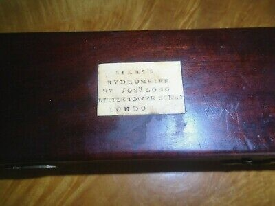 Antique,Mahogany Cased Sikes Hydrometer By Josh Long,London