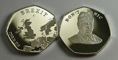 Brand New BREXIT Silver Commemorative 'DON'T PANIC' - Dads Army Jones Clive Dunn