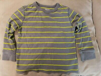 Baby GAP Boys Long Sleeve Cotton Stripe Shirt 2 Years 2T Grey Gray Yellow Preown