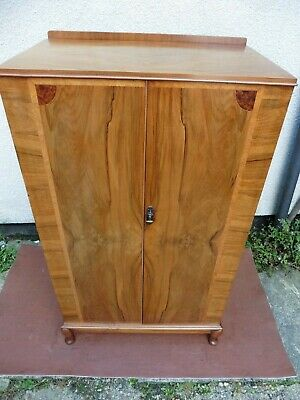 Quality Antique Art Deco Walnut Linen Press, Fitted Interior, Chest Of Drawers.