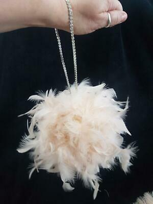 Feather Pomander With Rhinestone chain handle Feather Kissing Ball. Made 2 order