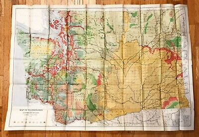 Large map of Washington State showing classifications of lands. 1898.