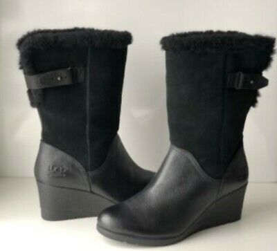 f3204c57f23 UGG EDELINA BLACK Size 9 Waterproof Wedge Boots Womens 1017422 ...