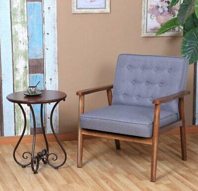 Mid-century Retro Grey Fabric Upholstered Wooden Lounge Chair Home Furniture US