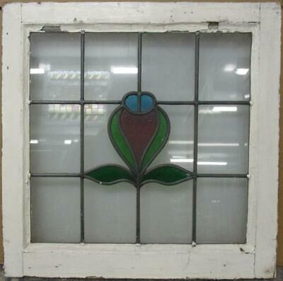 "OLD ENGLISH LEADED STAINED GLASS WINDOW Cute Abstract Design 20.5"" x 20.5"""