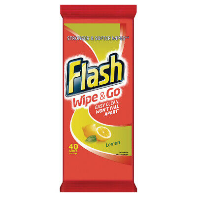 Flash Wipe & Go Lemon Cleaning Wipes (Pack of 12 x 40)