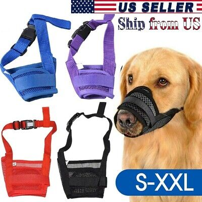 Pet Dog Muzzle Stop to Barking & Chewing Adjustable Mesh Mask Protect to Biting