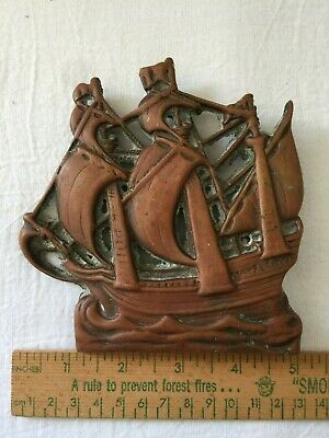 antique nautical MayFlower sail ship boat bronze front door knocker brass old
