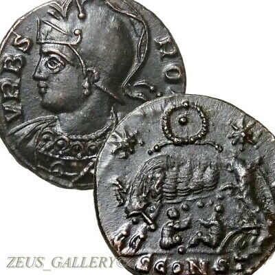 X Rare r5 SHE WOLF Twins ROMULUS REMUS  CONSTANTINE The GREAT Ancient Roman Coin