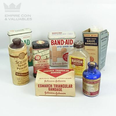 Vintage Medicine Cabinet Mixed Lot (8) Tin Containers / Boxes Johnson, Curad, Ba