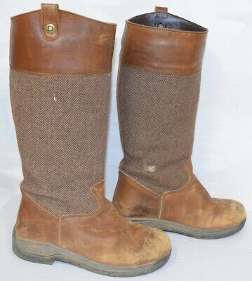 ab928322a34 DUBLIN EDEN BOOTS Brown TALL Size 9 Leather Herringbone Insert
