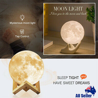 8CM Dimmable 3D Magical Moon USB LED Night Light Moonlight Bed Touch Sensor Lamp