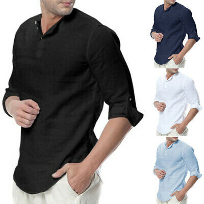 Mens Casual Tops Shirts Holiday Party Formal Office Work Plus Size Retro Summer