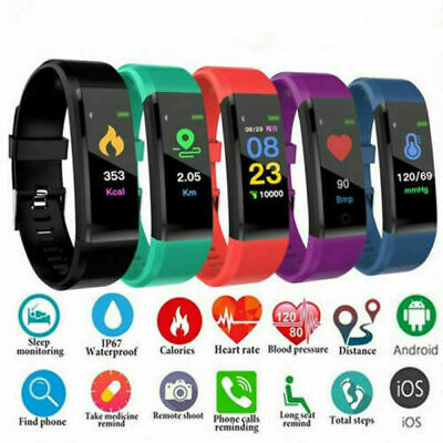 115Plus Smart Watch Bluetooth Heart Rate Blood Pressure Fitness Activity Tracker