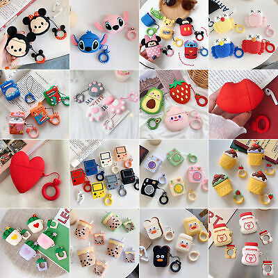 Cute Cartoon Colorful Silicone Rubber Case Cover Shell +Ring For Apple Airpods