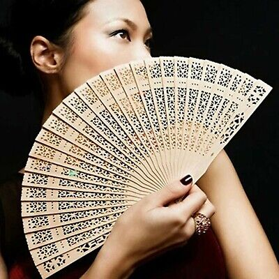 Wooden hand held fan wedding bridal dance hen party fold vintage bamboo holidays