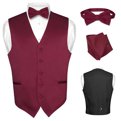7ec30043b0b2 Men's Dress Vest BOWTie Hanky BURGUNDY Color Bow Tie Set for Suit or Tuxedo  XXL