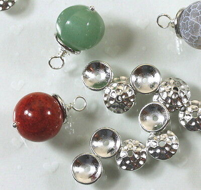 TierraCast Hammered Bead Caps,  8mm., Rhodium Plated, 10 Pieces, 6261