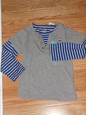 NWT- Childrens Place long sleeved grey, blue & white basketball shirt - 4T boys