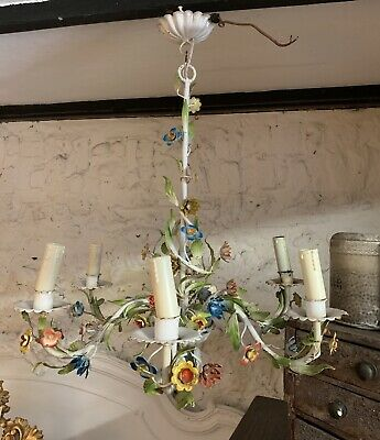 Pretty Vintage Floral Decorative Chandelier With Matching Wall Sconce Lights