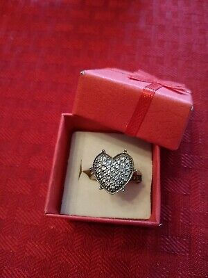 Estate Antique Sterling Silver CZ Heart Shaped Ring Size 7