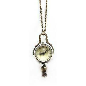Domed Vintage Style Necklace Watch - Pendant Antique Gold Tone Boxed
