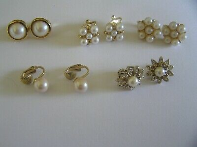 Job Lot 5 Pairs Of Lovely Pearl / Diamante Gold Coloured Clip On Earrings