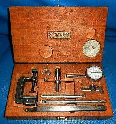 "Starrett Jeweled No. 196 Test Dial Indicator Set .001"" with original wood case"