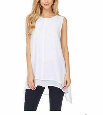 Fever Ladies' Double Layer Sleeveless Lightweight Airy Blouse White XS NWT