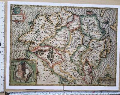 """Old Antique Tudor map of Ulster, Ireland: Speed 1600's 15"""" x 11 (Reprint)"""