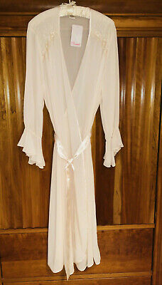 NWT Dentelle Ladies Beaded Lingerie Robe Size Large in Blush Pink RV $34