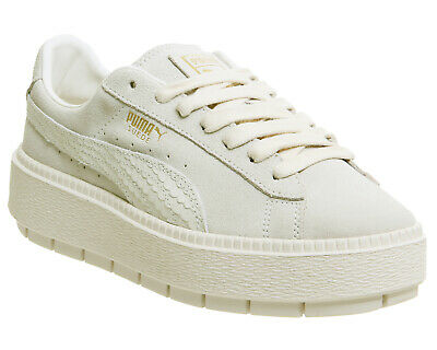 purchase cheap bf2e9 e88a2 WOMENS PUMA CREAM Suede Lace Up Trainers Size UK 3 *Ex-Display