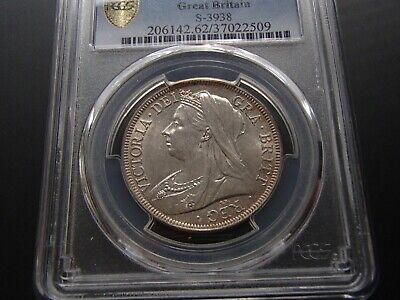 1900 Great Britain Uncirculated Silver Half 1/2 Crown Coin - Victoria PCGS MS62