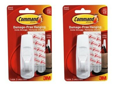 2 X 3M Command Large Self Adhesive White Utility Hook With Sticky Strips
