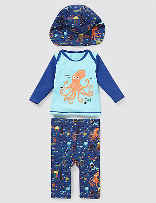 UV Sunsuit with hat Marks and Spencer sun suit boys age 12-18 18-24 months
