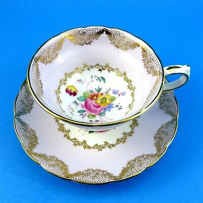 Pale Purple & Gold Swag Border with Painted Floral Grosvenor Tea Cup and Saucer