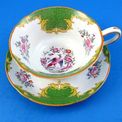 Pretty Green and Floral Grosvenor Tea Cup and Saucer Set