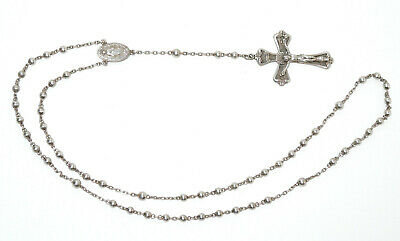 Antique Solid Sterling Silver Ornate Art Nouveau Crucifix Beaded Rosary 19 Grams